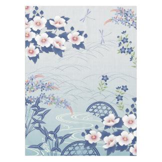 Elegant Light Blue Japanese Flower Garden Tablecloth