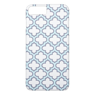 Elegant Light Blue Moroccan Quatrefoil Pattern iPhone 7 Plus Case