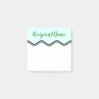Elegant Light Cyan Background + Forest Green Name Post-it Notes