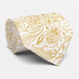 Elegant Light Gold & White Vintage Paisley Tie