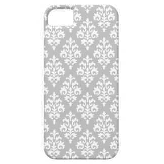 Elegant Light Gray and White Damask iPhone 5 Case