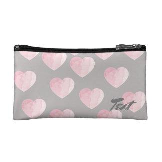 elegant light pink color love hearts pattern makeup bag