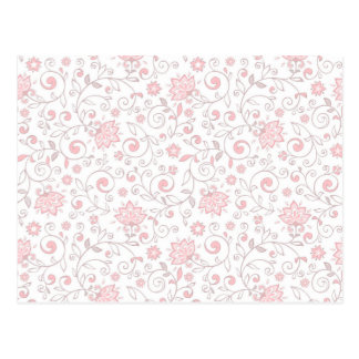 Elegant Light Pink Floral Pattern Postcard