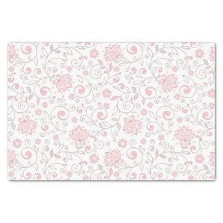 Elegant Light Pink Floral Pattern Tissue Paper