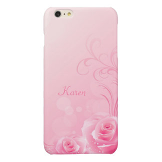 Elegant Light Pink Swirl Rose Pattern Monogrammed