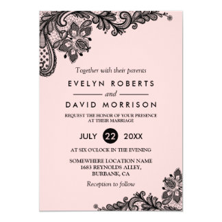 Elegant Light Pink with Black Lace Formal Wedding Card