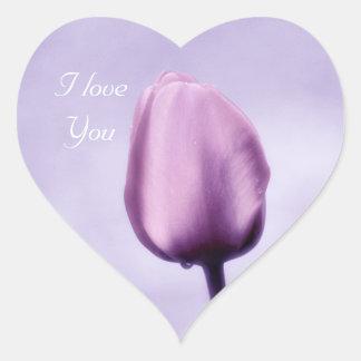 Elegant Light Purple Tulip I Love You Heart Sticker