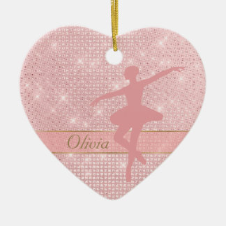 Elegant Lights Pink Ballerina Ceramic Ornament
