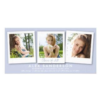 Elegant Lilac 3 Photo Graduation Announcement Card