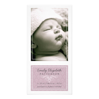 Elegant Lilac & White Baby Girl Birth Announcement Photo Cards