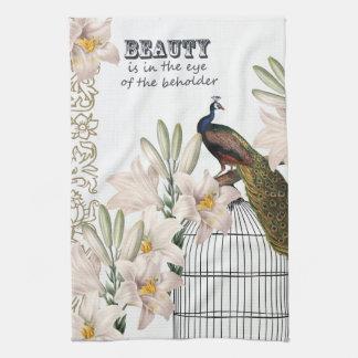 Elegant Lilies Peacock Kitchen Towel