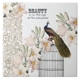 Elegant Lilies Peacock Tile