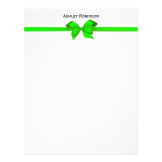 Elegant Lime Green Satin Bow on White Envelope Customized Letterhead
