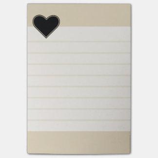 Elegant Lined Black Heart 2 Post-it Notes