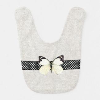 Elegant Linen and Butterfly Baby Bib