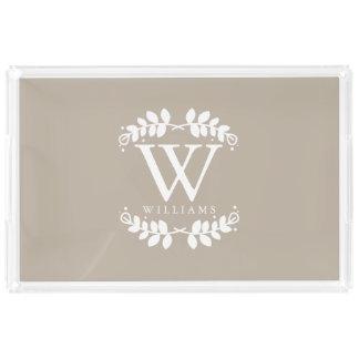 Elegant Linen Beige Modern Monogram Acrylic Tray
