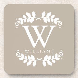 Elegant Linen Beige Monogram Coasters