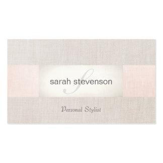 Elegant Linen Striped Beige and Pink Monogram Business Card
