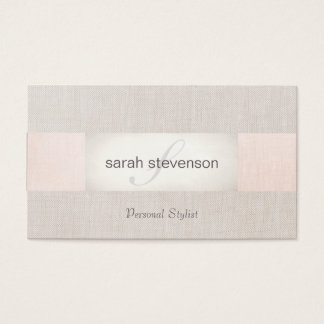 Elegant Linen Striped Beige and Pink Monogram Business Card