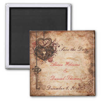 Elegant Lock and Key Save the Date Magnet