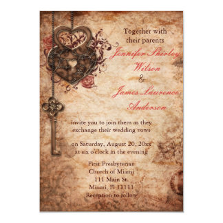 Elegant Lock and Key Wedding Invitation