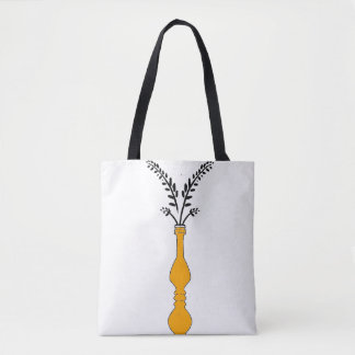 Elegant long vase illustrated tote bag