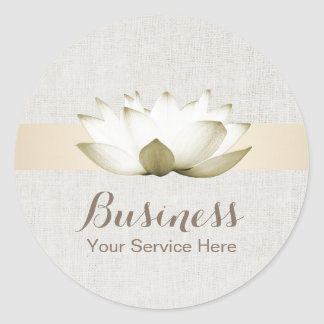 Elegant Lotus Gold Striped Salon SPA Business Classic Round Sticker