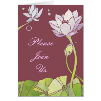 Elegant Lotus Wedding Invitation Card