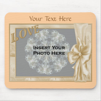 Elegant Love And Bow Design Photo Mouse Pad