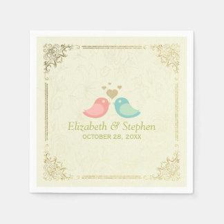 Elegant Love Birds & Rose Watermark Wedding Shower Paper Napkin