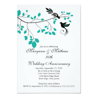 Elegant Love Birds Wedding Anniversary Invitation