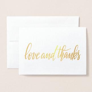 Elegant Love & Thanks Handwritten Script Wedding Foil Card