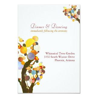 "Elegant Love Trees White Wedding Reception 3.5"" X 5"" Invitation Card"