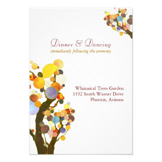 Elegant Love Trees White Wedding Reception 3 5x5 Personalized Invitations