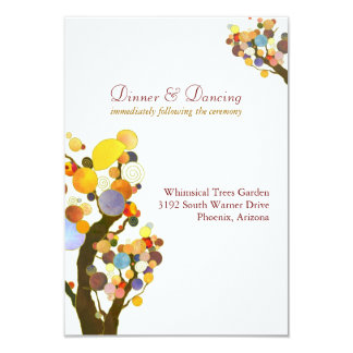 Elegant Love Trees White Wedding Reception Card