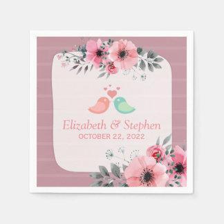Elegant Lovely Watercolor Floral Wedding Shower Disposable Napkin
