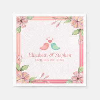 Elegant Lovely Watercolor Floral Wedding Shower Paper Napkins