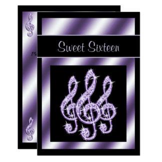 Elegant, Luscious Lilac Treble Clefs Sweet 16 Card