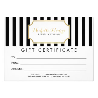 Elegant Luxe Bold Stripes Gift Certificate Card