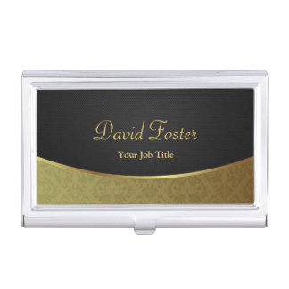 Elegant Luxury Black and Gold Damask Business Card Holder