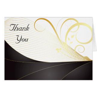 Elegant Luxury Black and Gold Monogram Thank You Card