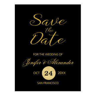 Elegant luxury black gold wedding save date script postcard