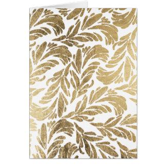 Elegant luxury custom faux gold foil floral damask card