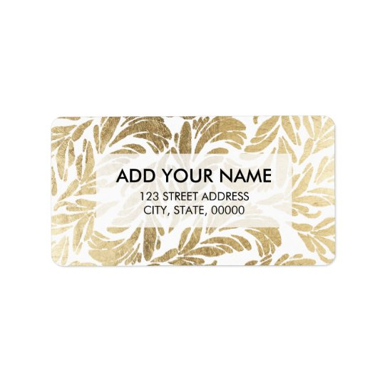 Elegant luxury custom faux gold foil floral damask label