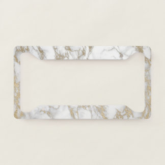 Elegant Luxury Gold Marble Pattern License Plate Frame