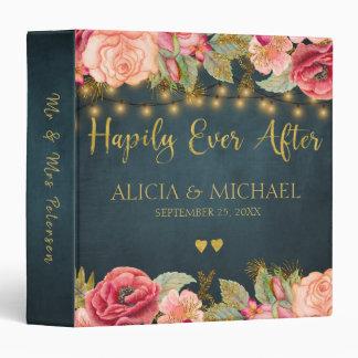 Elegant luxury navy blush gold floral wedding vinyl binder