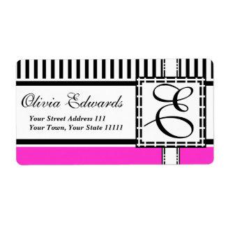 Elegant Magenta and Black Stripes Monogram E