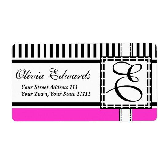 Elegant Magenta and Black Stripes Monogram E Shipping Label