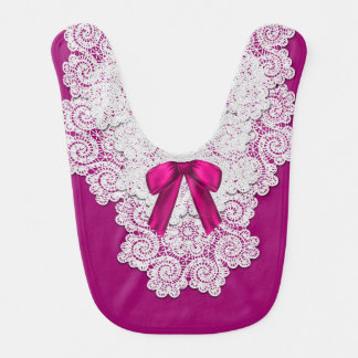 Elegant Magenta and Lace Special Occasion Baby Bib