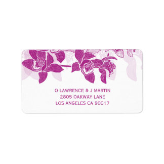 Elegant Magenta Orchids Floral Label